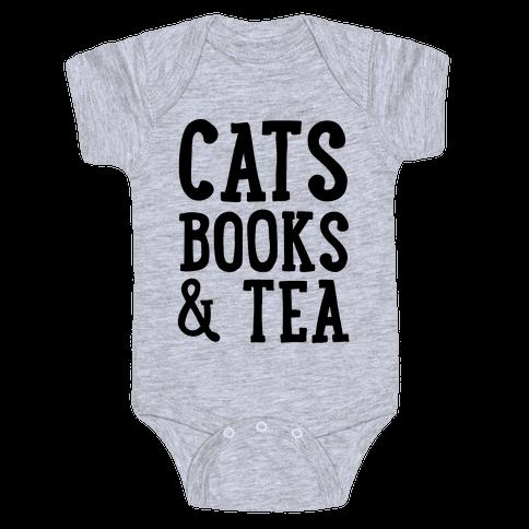 Cats, Books & Tea Baby Onesy