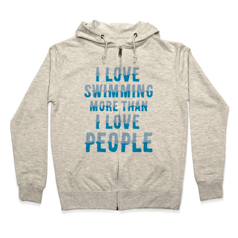 I Love Swimming Zip Hoodie ElS26F2ND