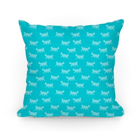 Teal Cat Pattern Pillow