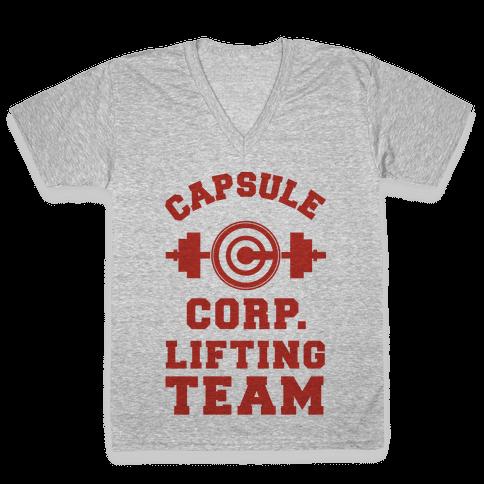 Capsule Corp. Lifting Team V-Neck Tee Shirt