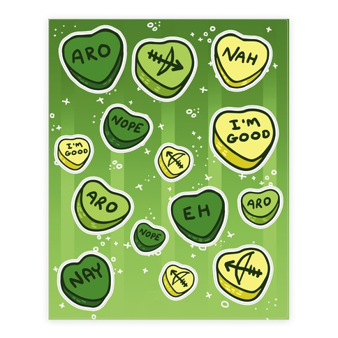 Aromantic Conversation Hearts Sticker and Decal Sheet