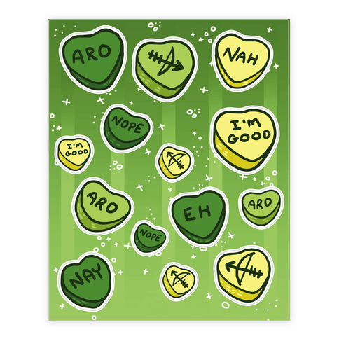 Aromantic Conversation Hearts  Sticker/Decal Sheet