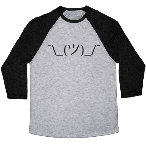Emoticon Shrugs Baseball Tee