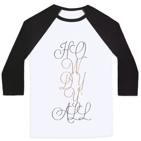 Howdy Y'all (Typographic) Baseball Tee