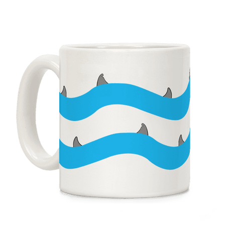 Blue Shark Fins Waves Pattern Coffee Mug
