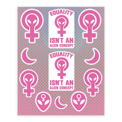 Alien Feminist  Sticker/Decal Sheet