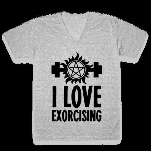 I Love Exorcising V-Neck Tee Shirt