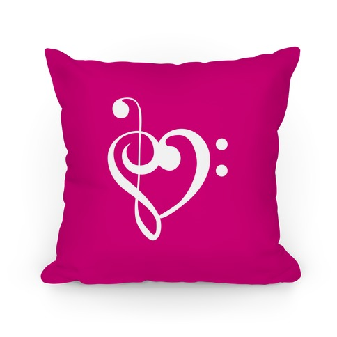 Music Clef Heart Pillow