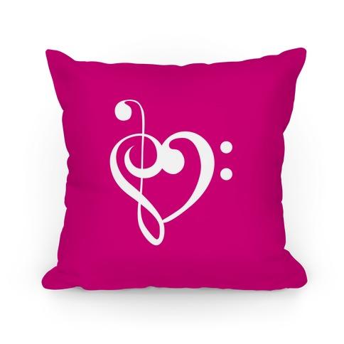 Music Clef Heart Pillow