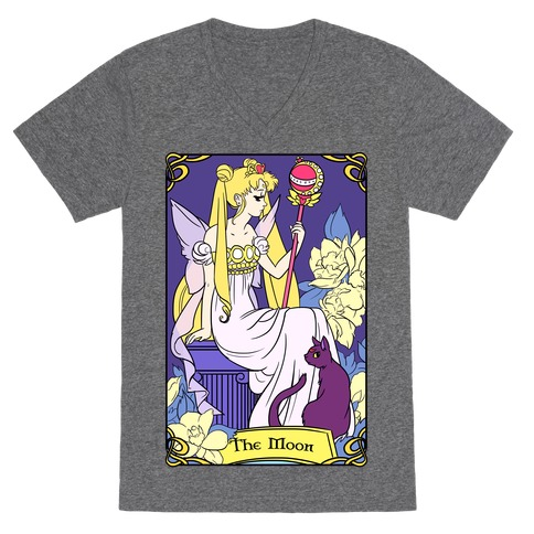The Moon Tarot V-Neck Tee Shirt