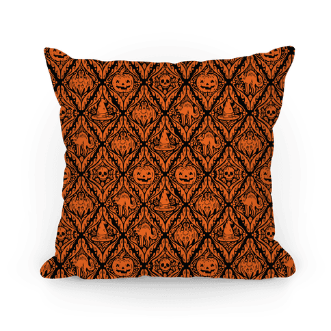 Spooky Vintage Halloween Pattern Pillow