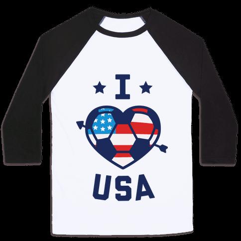 I Love USA (Soccer) Baseball Tee