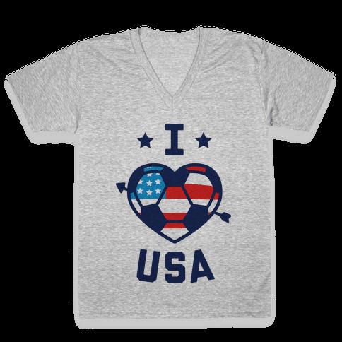 I Love USA (Soccer) V-Neck Tee Shirt