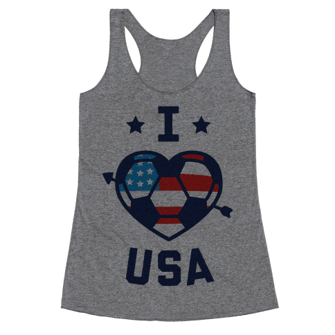 I Love USA (Soccer) Racerback Tank Top