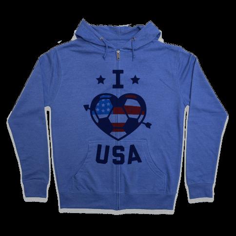 I Love USA (Soccer) Zip Hoodie