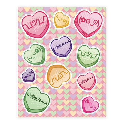Kawaii Emoji Conversation Heart Sticker/Decal Sheet