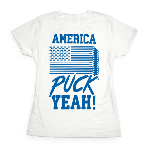 America Puck Yeah Hockey Flag Womens T-Shirt