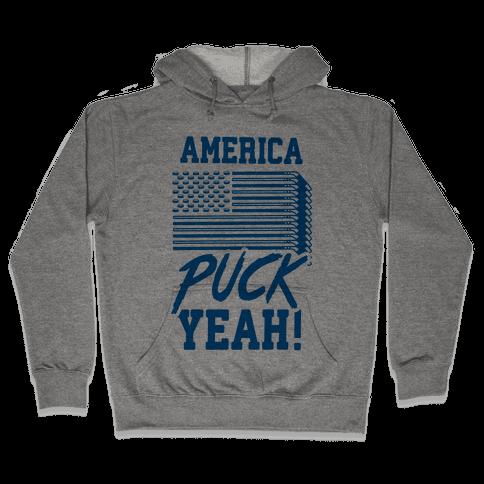 America Puck Yeah Hockey Flag Hooded Sweatshirt