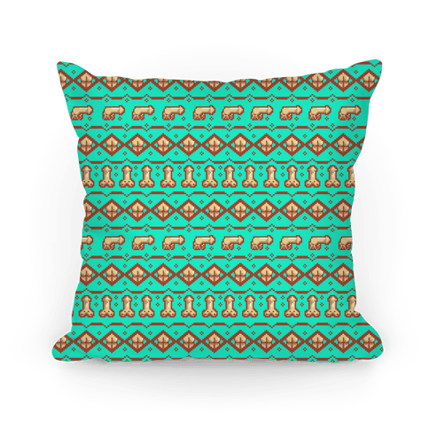 Dicks and Butts Ugly Sweater Pattern Pillow