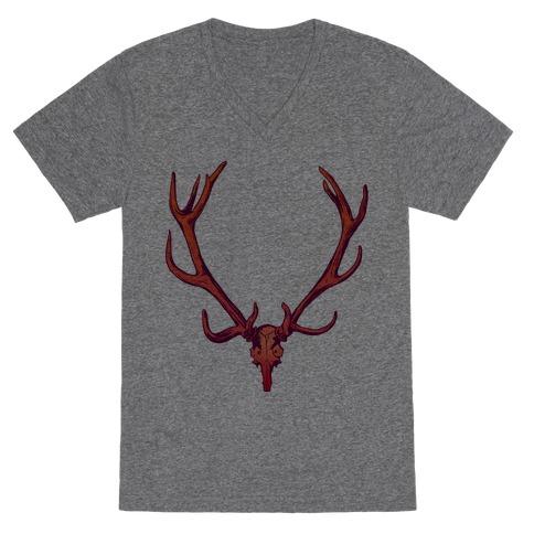 Buck Off Antlers V-Neck Tee Shirt