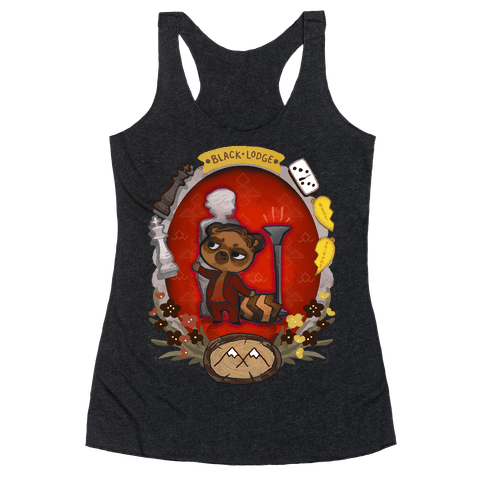 Black Lodge Racoon Racerback Tank Top
