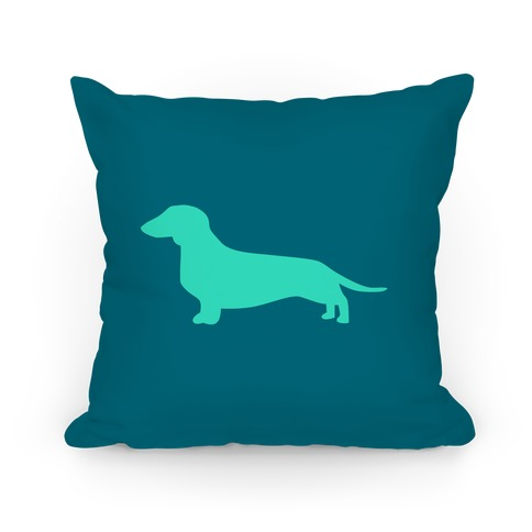 Teal Wiener Dog Pillow
