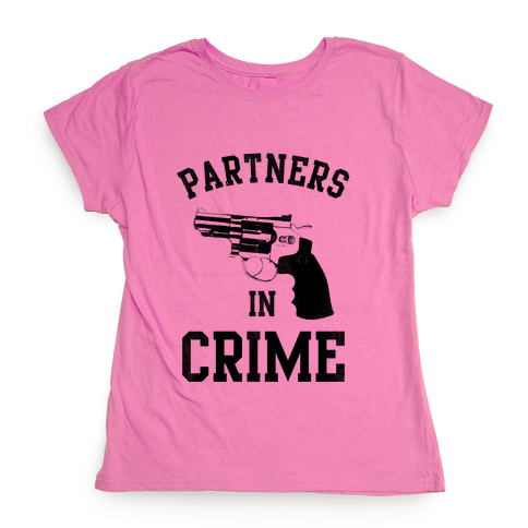 Partners in Crime! (Neon Yellow Left) Womens T-Shirt