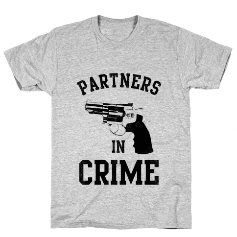 Partners in Crime! (Neon Yellow Left) Mens T-Shirt