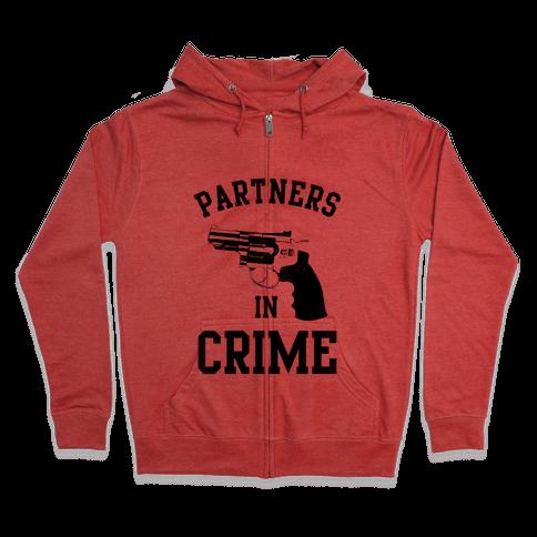 Partners in Crime! (Neon Yellow Left) Zip Hoodie