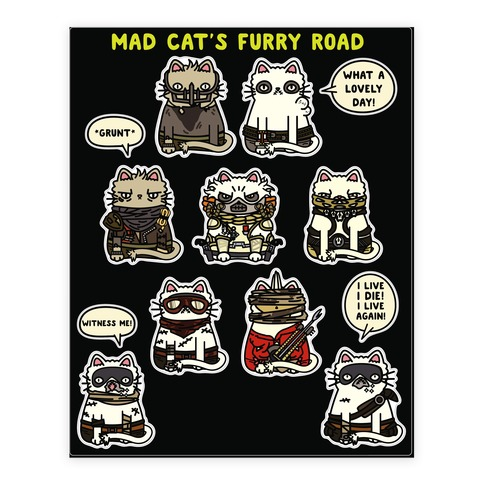 Mad Cats Furry Road Stickers 2 Sticker/Decal Sheet