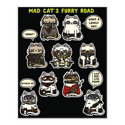 Mad Cats Furry Road Stickers 2 Sticker and Decal Sheet