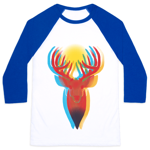 Pop Art Deer Head Baseball Tee