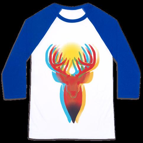 Pop Art Deer Head Baseball Tee
