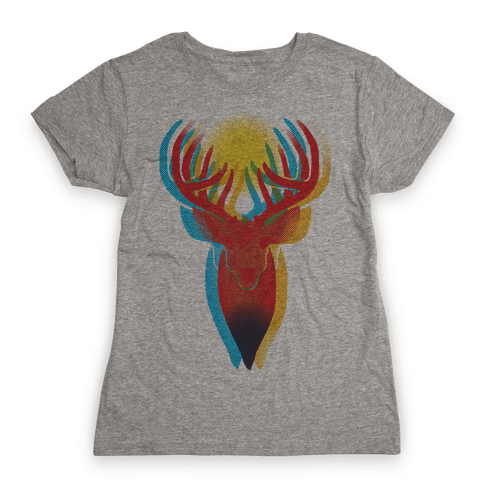 Pop Art Deer Head Womens T-Shirt