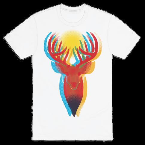 Pop Art Deer Head Mens T-Shirt