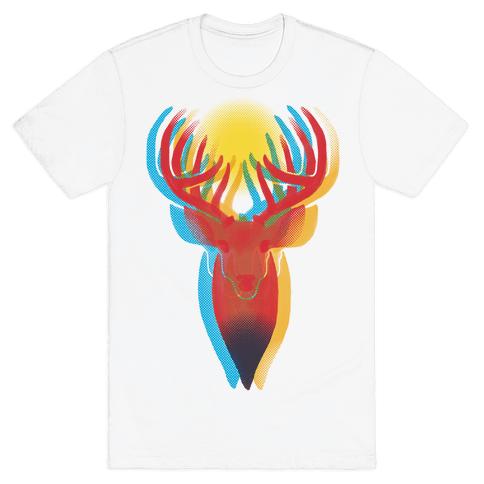 Pop Art Deer Head Mens T-Shirt