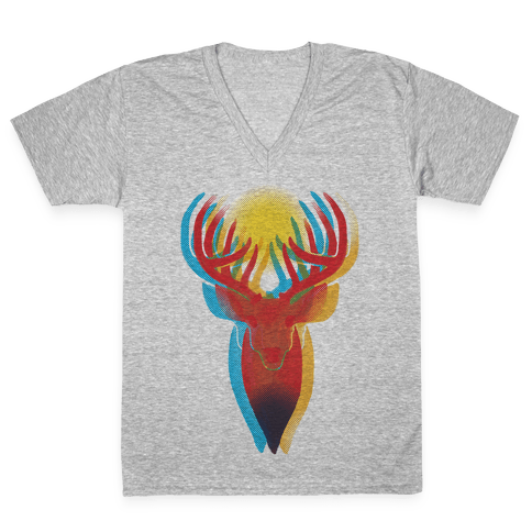 Pop Art Deer Head V-Neck Tee Shirt