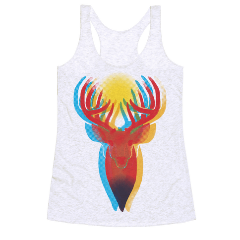 Pop Art Deer Head Racerback Tank Top