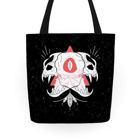 Double Cat Skulls Tote