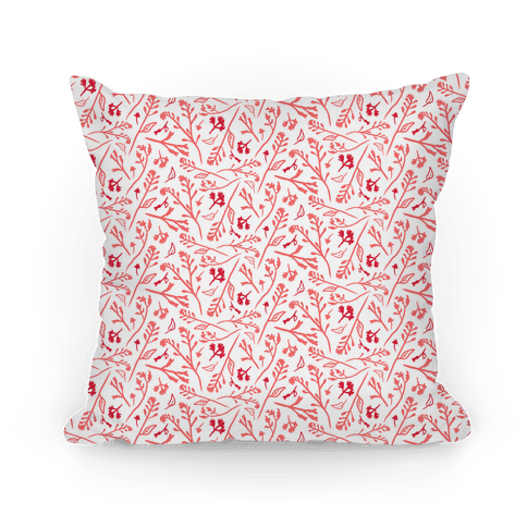 Lovely Wildflower Meadow Pink Pattern Pillow