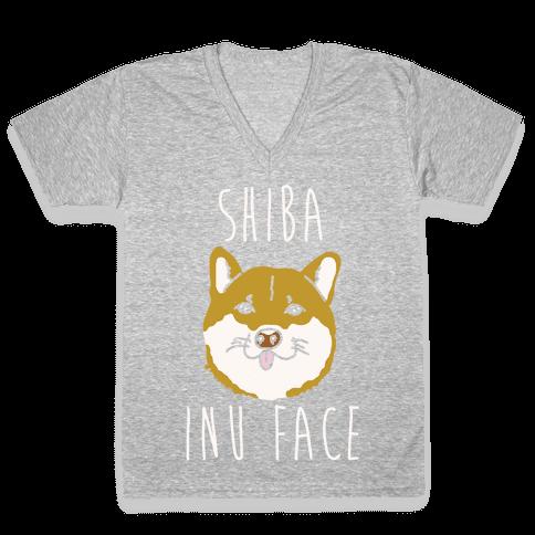 Shiba Inu Face V-Neck Tee Shirt
