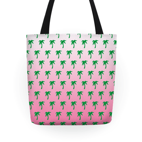 Palm Tree Pattern Tote (Pink) Tote