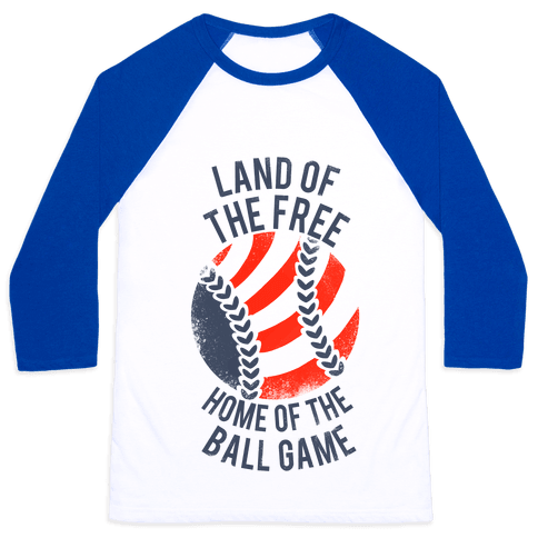Land of the Free Home of the Ball Game (Vintage) Baseball Tee