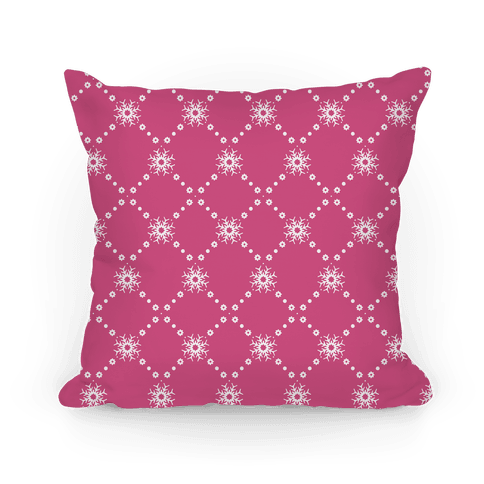 Pink Snowflake Pattern Pillow