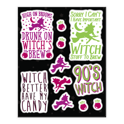 Sassy Witch Sticker and Decal Sheet