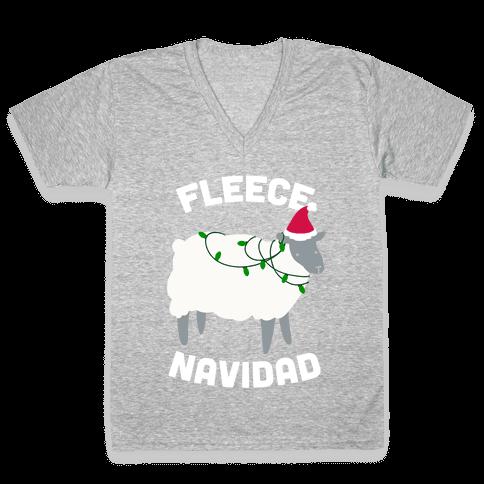 Fleece Navidad V-Neck Tee Shirt