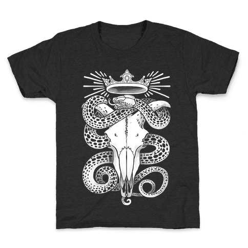 Crowned Serpent Goat Skull Kids T-Shirt