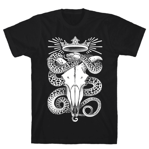 Crowned Serpent Goat Skull Mens T-Shirt