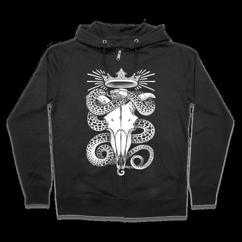 Crowned Serpent Goat Skull Zip Hoodie