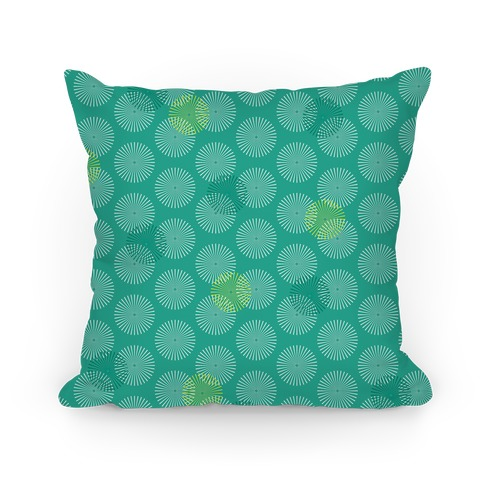 Green Radial Mandalas Pattern Pillow